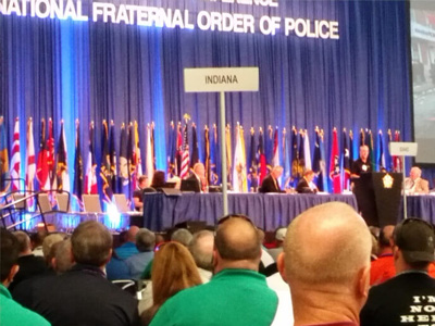 panel discussion at Fraternal Order of Police event